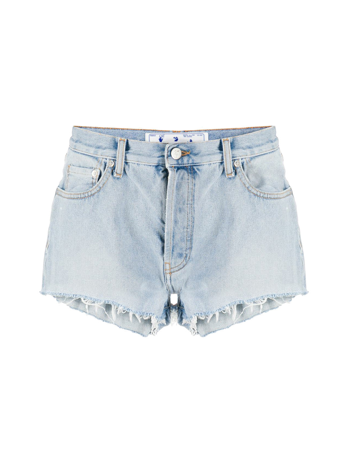logo print denim shorts