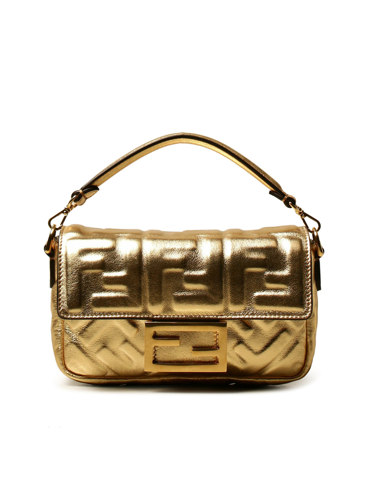 Borsa Baguette Fendi in pelle laminate with FF embossed logo