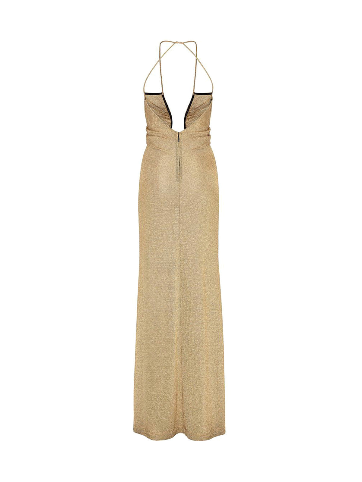 metallic U-neck ruched dress