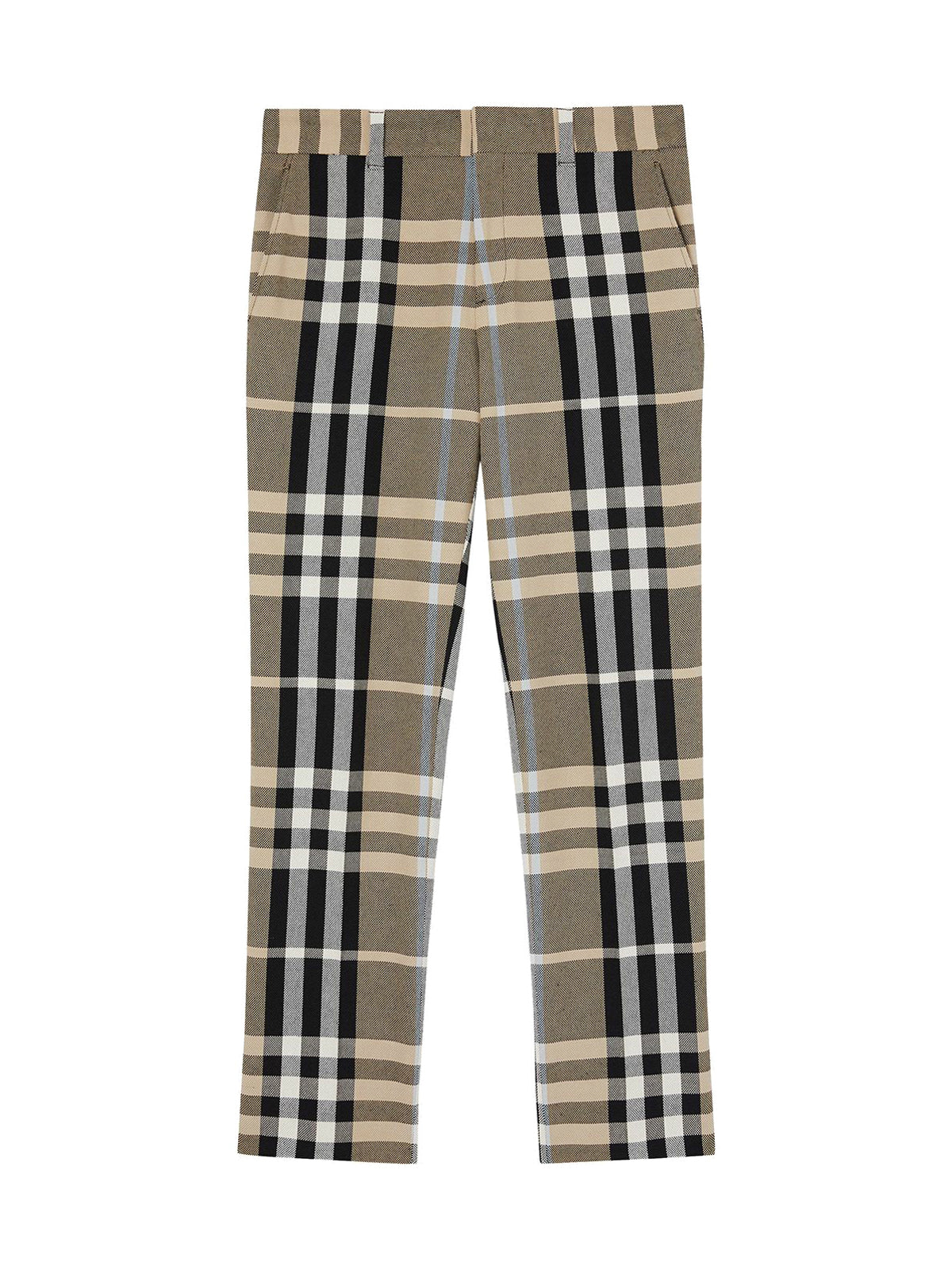 Tailoring trousers in technical cotton with tartan pattern
