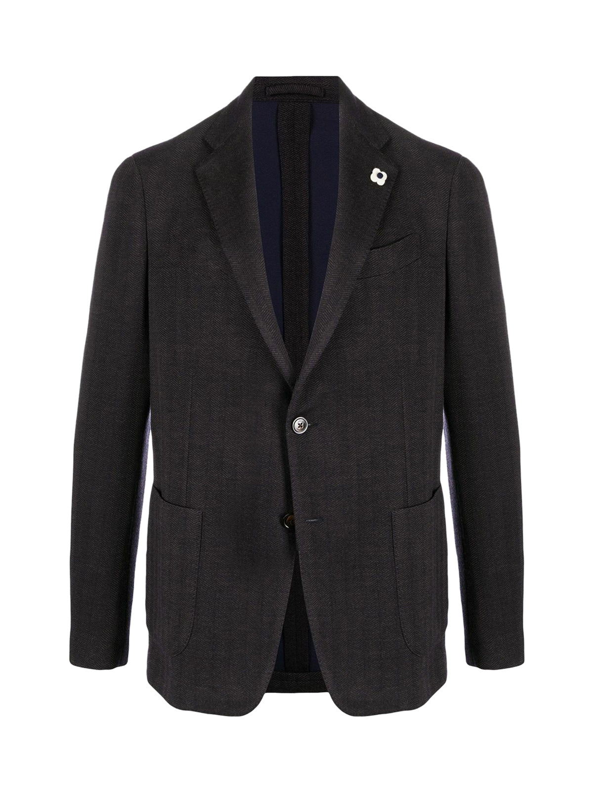 single-breasted flower-pin blazer