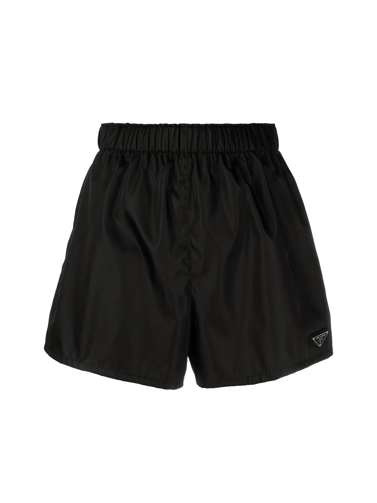 high-waisted logo-plaque shorts