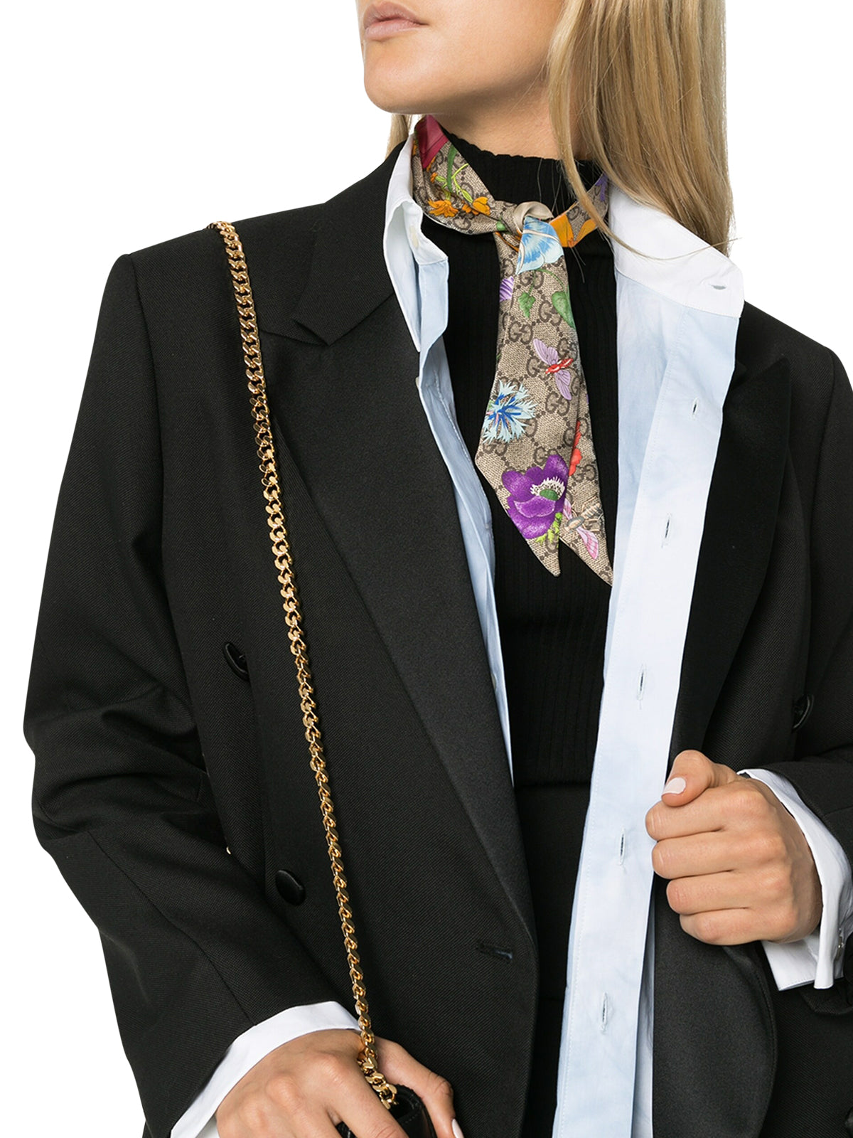 Special floral-print silk neck scarf