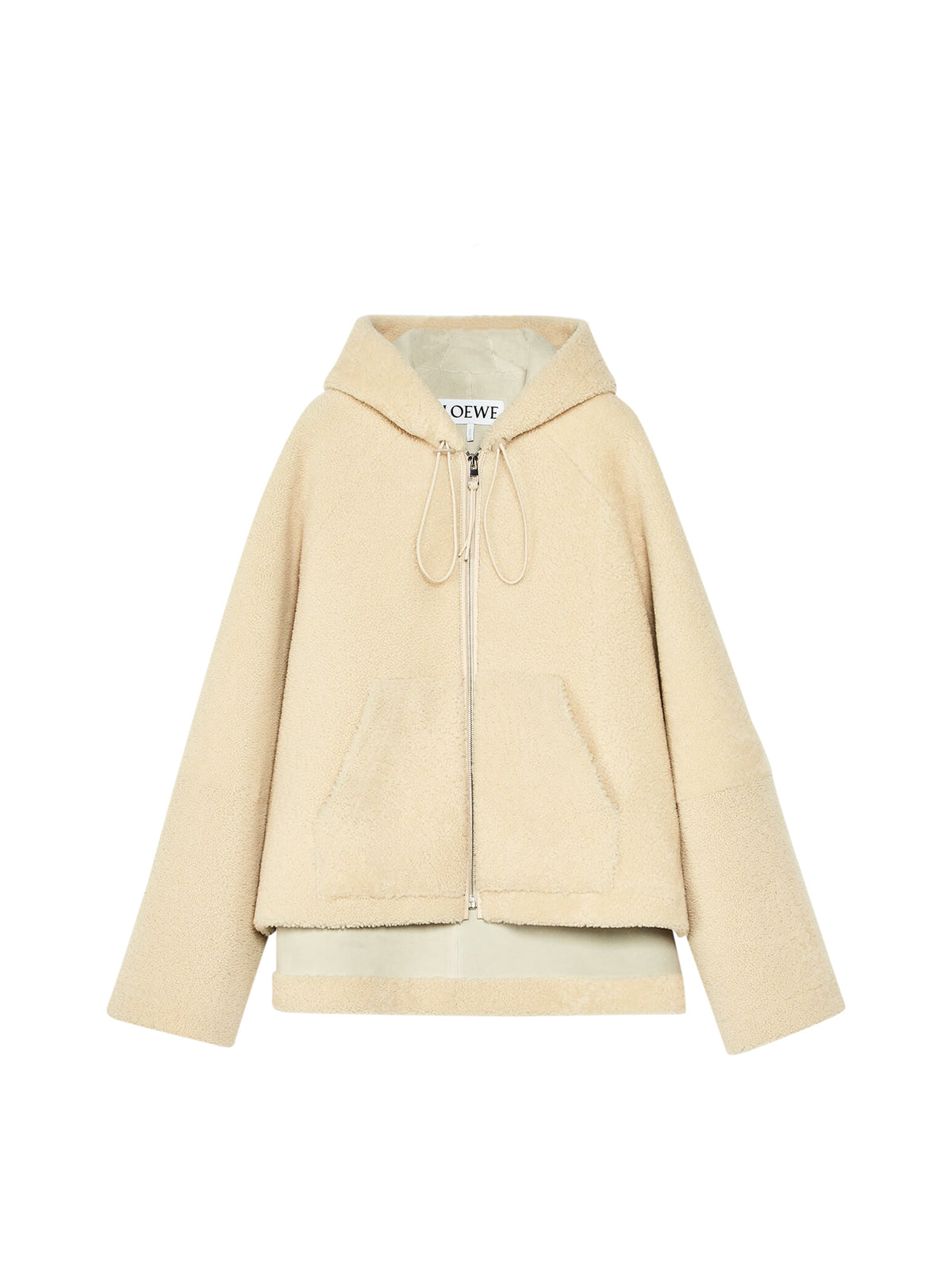 Hooded zip jacket in shearling