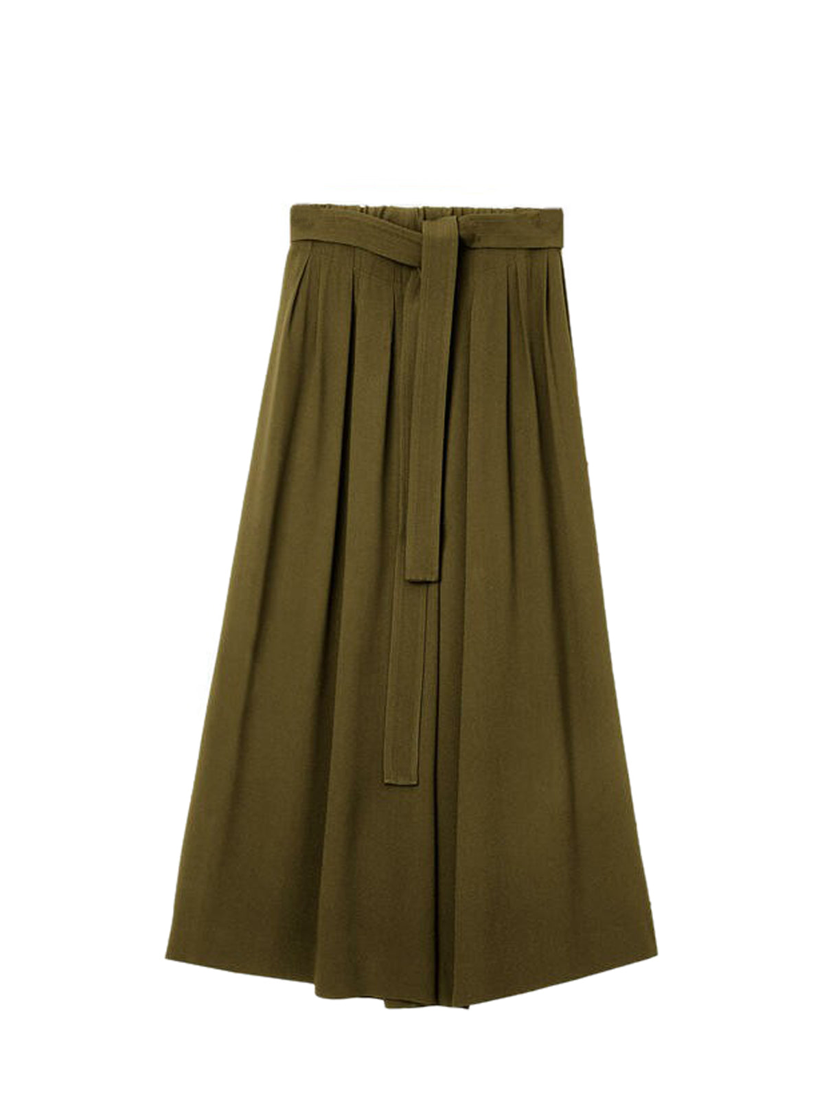 Cropped belted trousers in cotton and linen