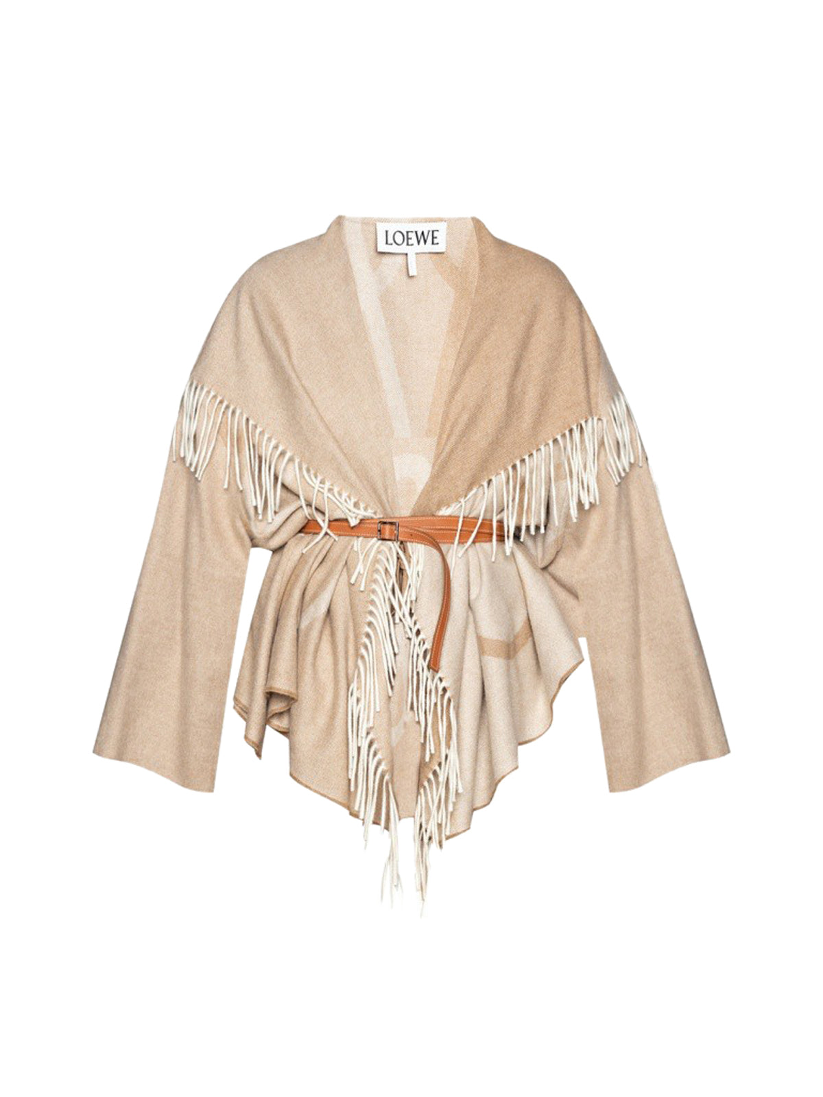 Anagram jacquard blanket shawl jacket in wool and cashmere
