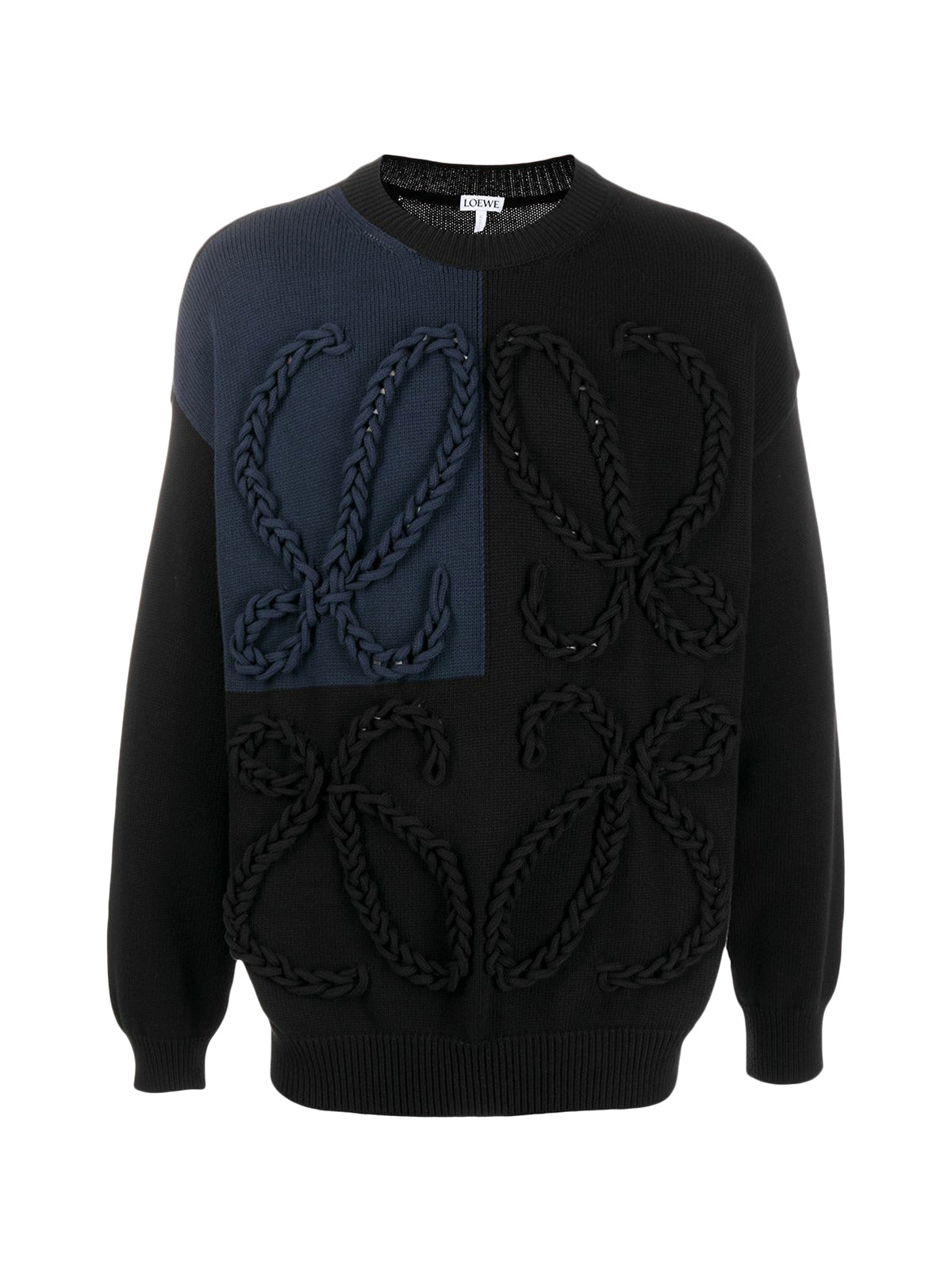 braided logo panelled jumper