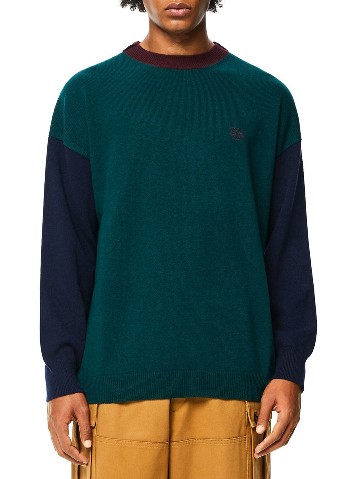 Crewneck colour block sweater in wool