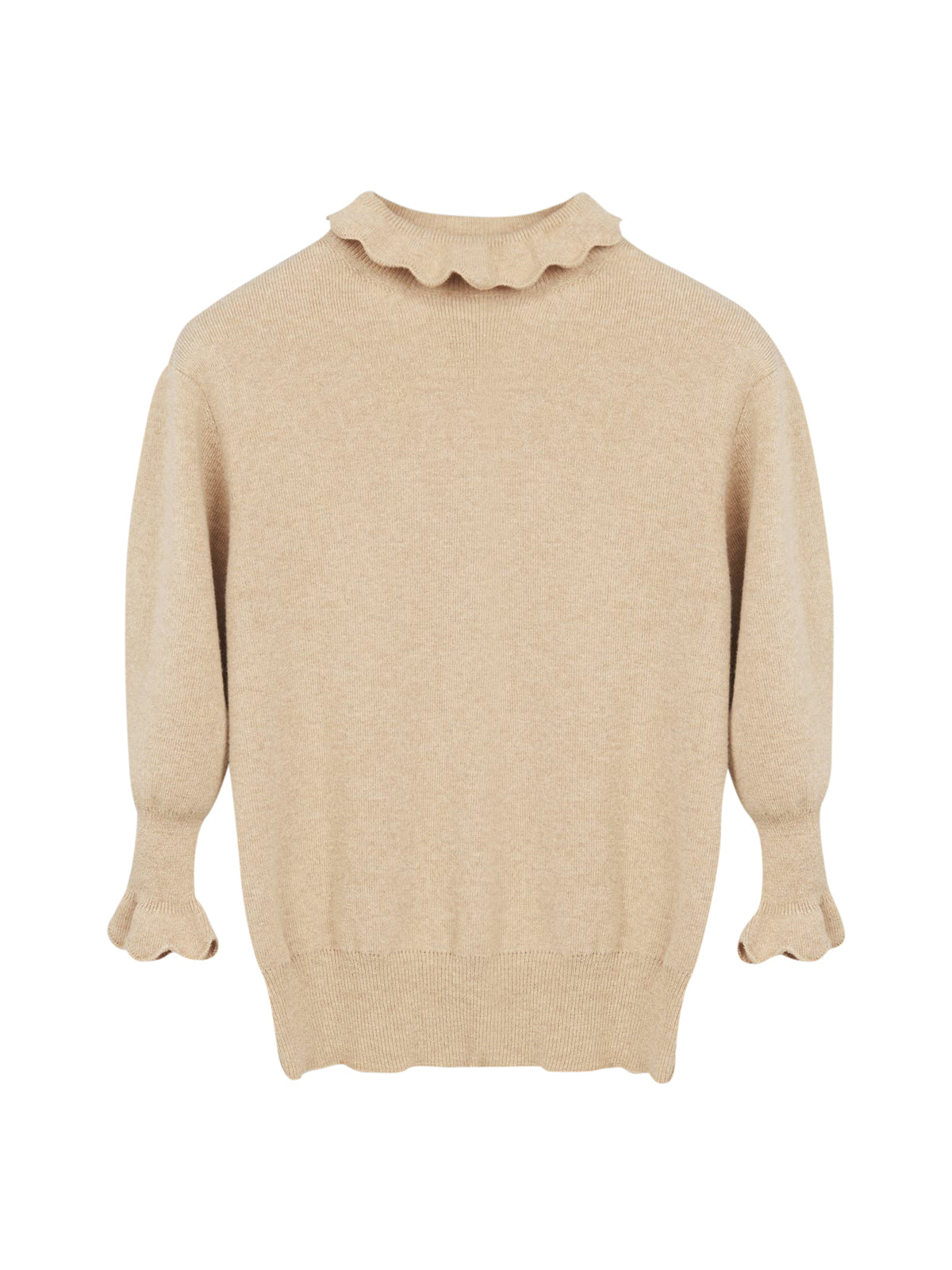 High neck knitted sweater in wavy wool