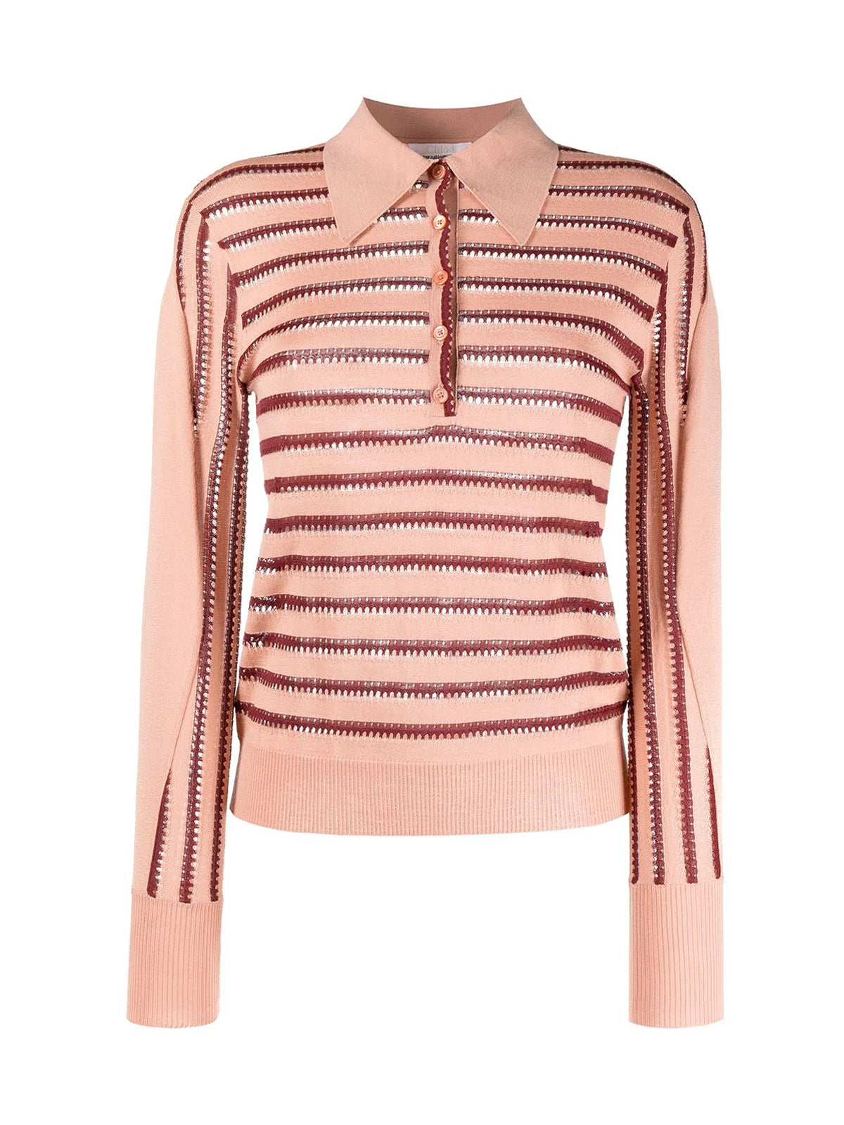 striped knitted polo top