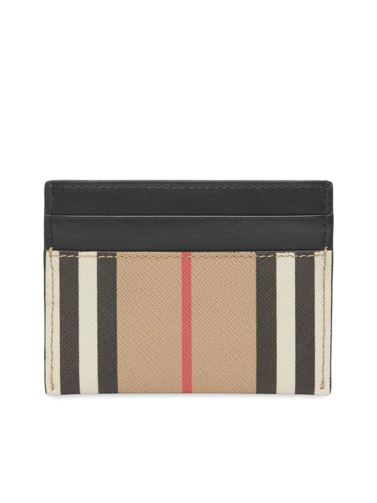 Icon stripe E-canvas and leather card case