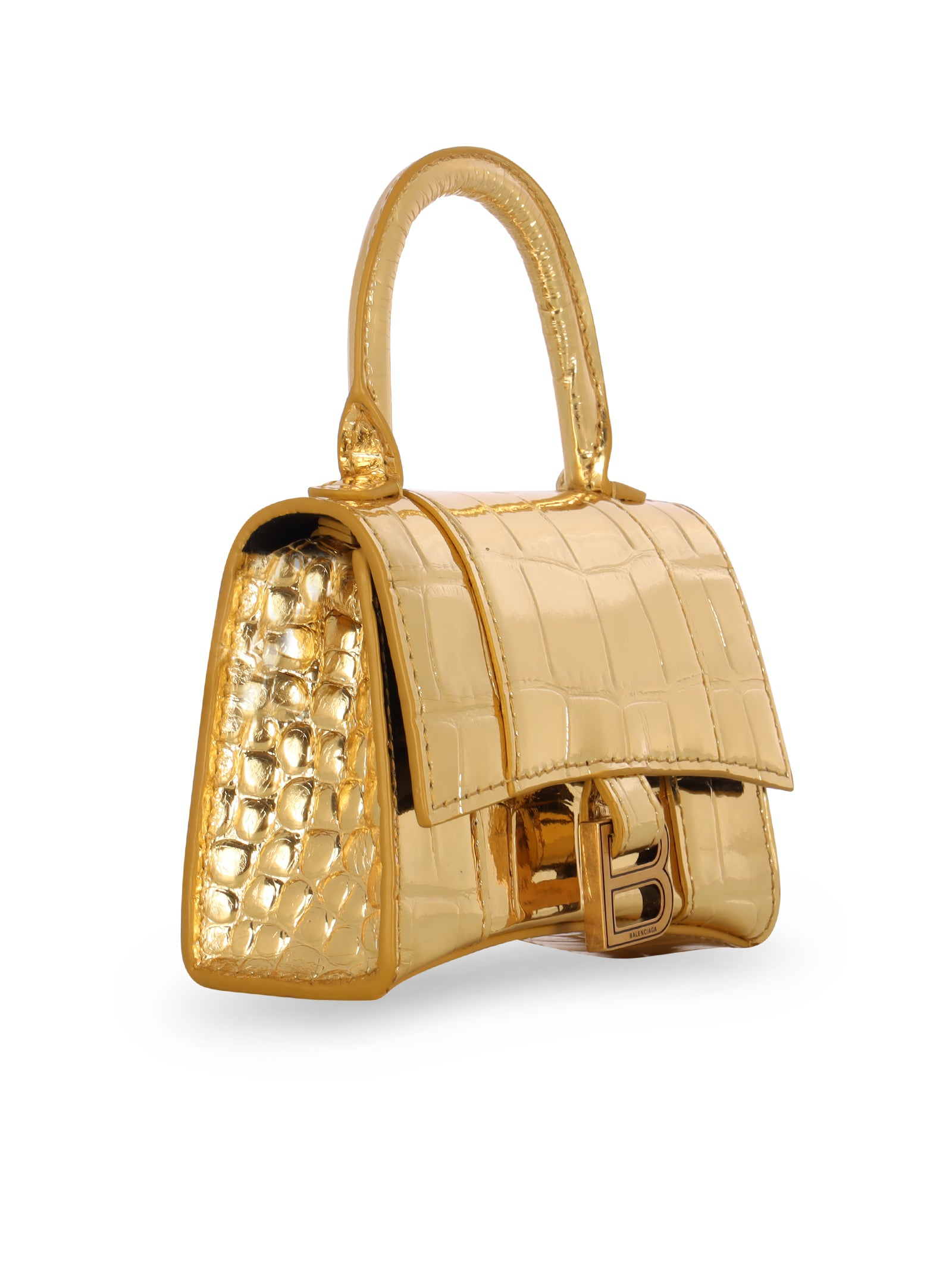 Hourglass Mini Top Handle Bag In Gold