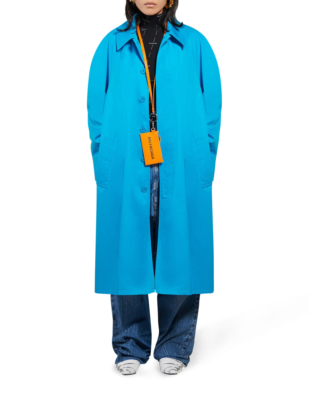Blue cotton gabardine carcoat