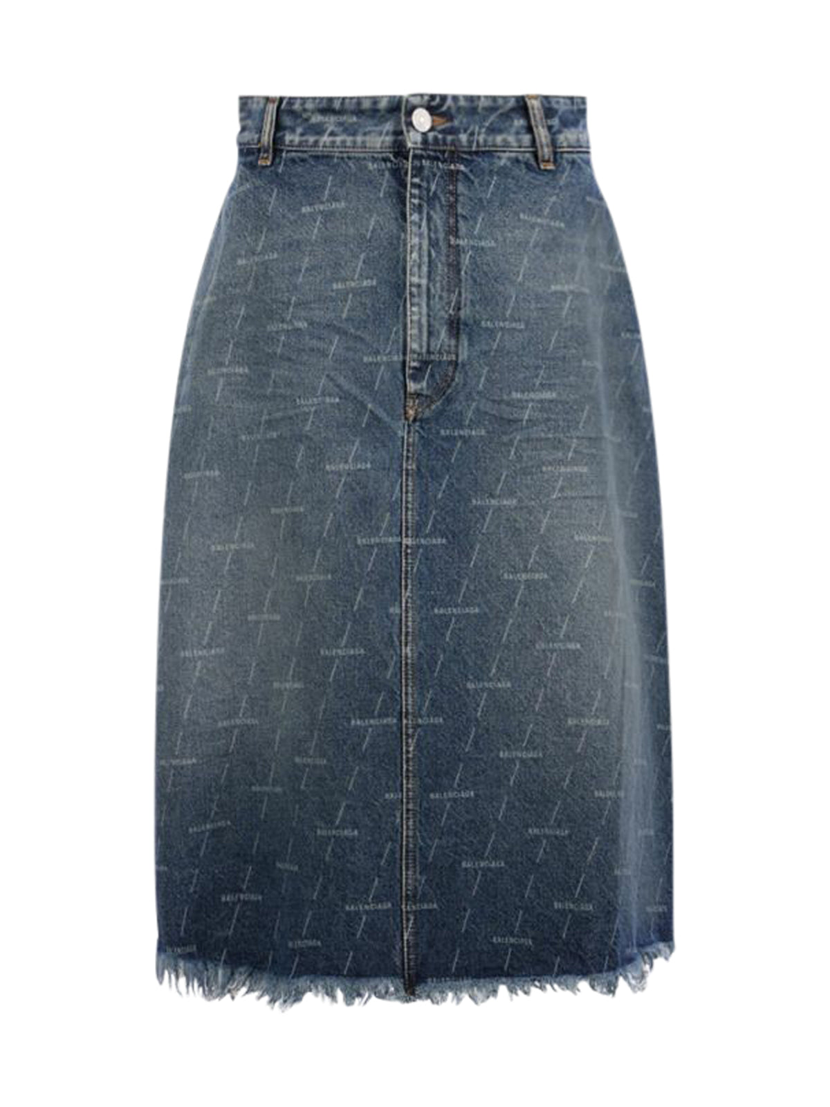 TRAPEZE SKIRT IN DENIM LOGO PRINT