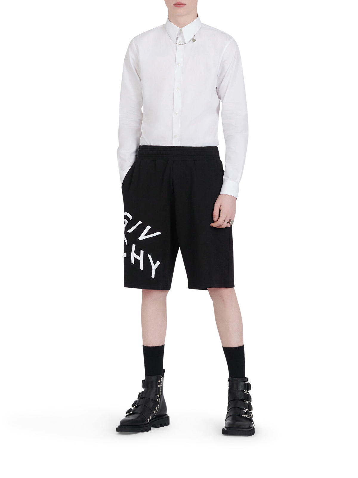 GIVENCHY REFRACTED EMBROIDERED SHORT PANTS