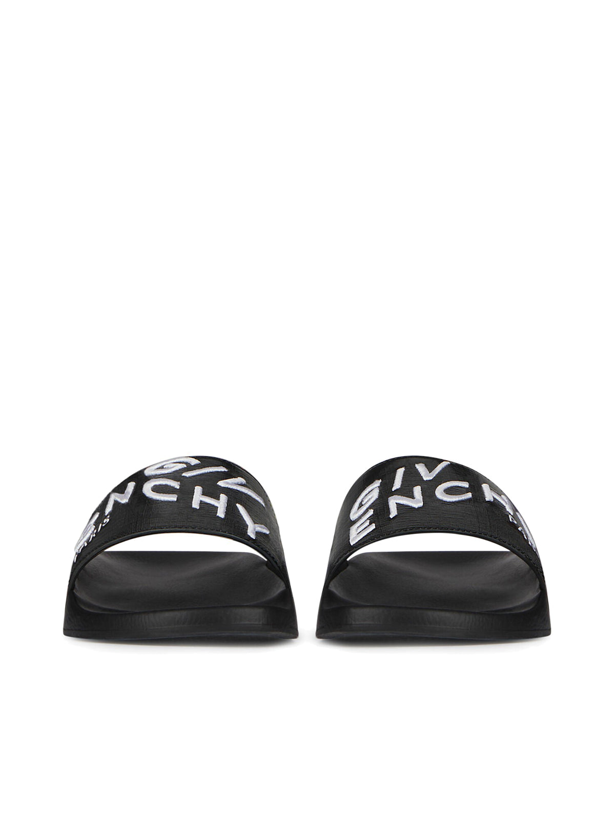 logo print leather slides