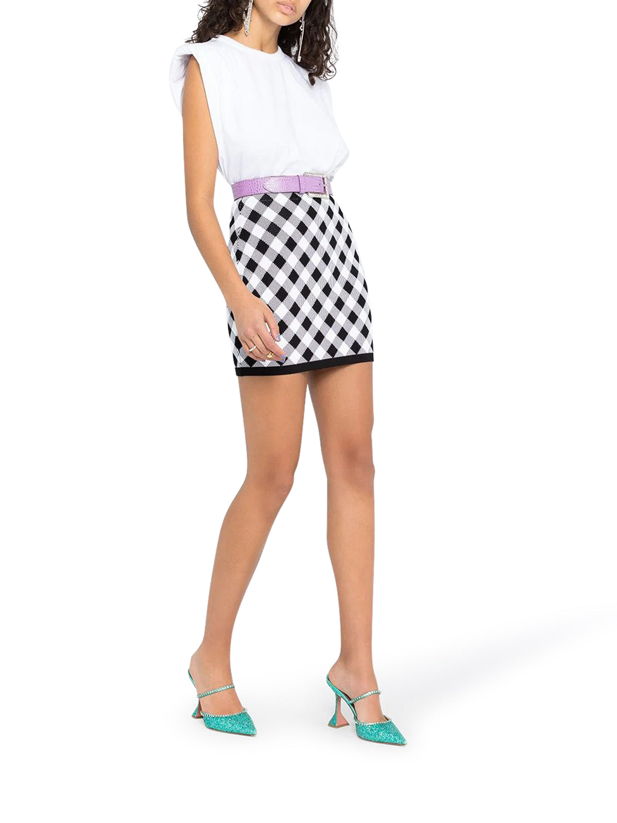 gingham check mini skirt