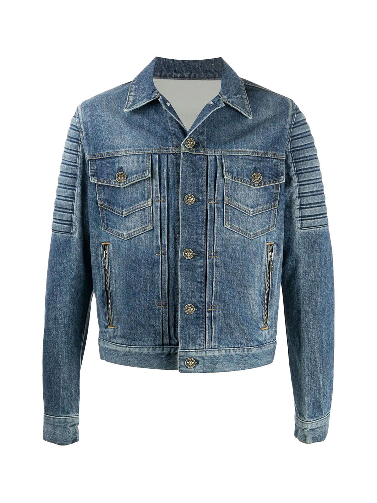 logo-embossed denim jacket