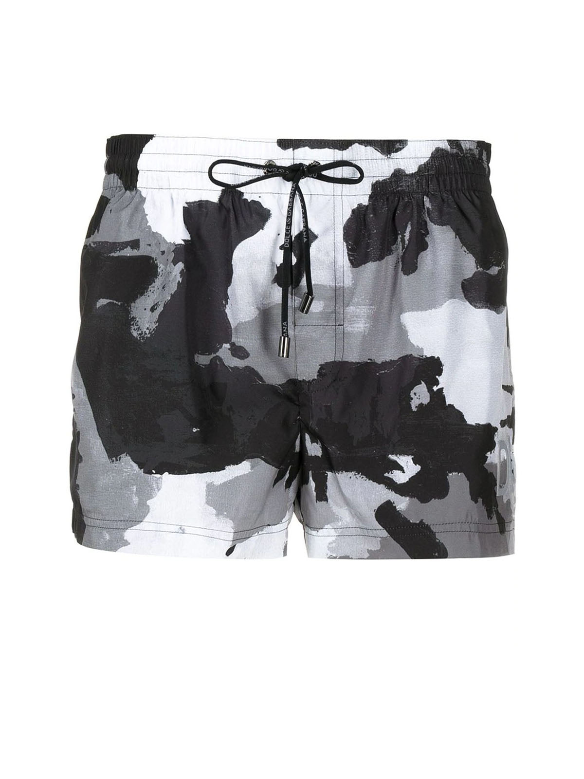 camouflage-pattern swim shorts
