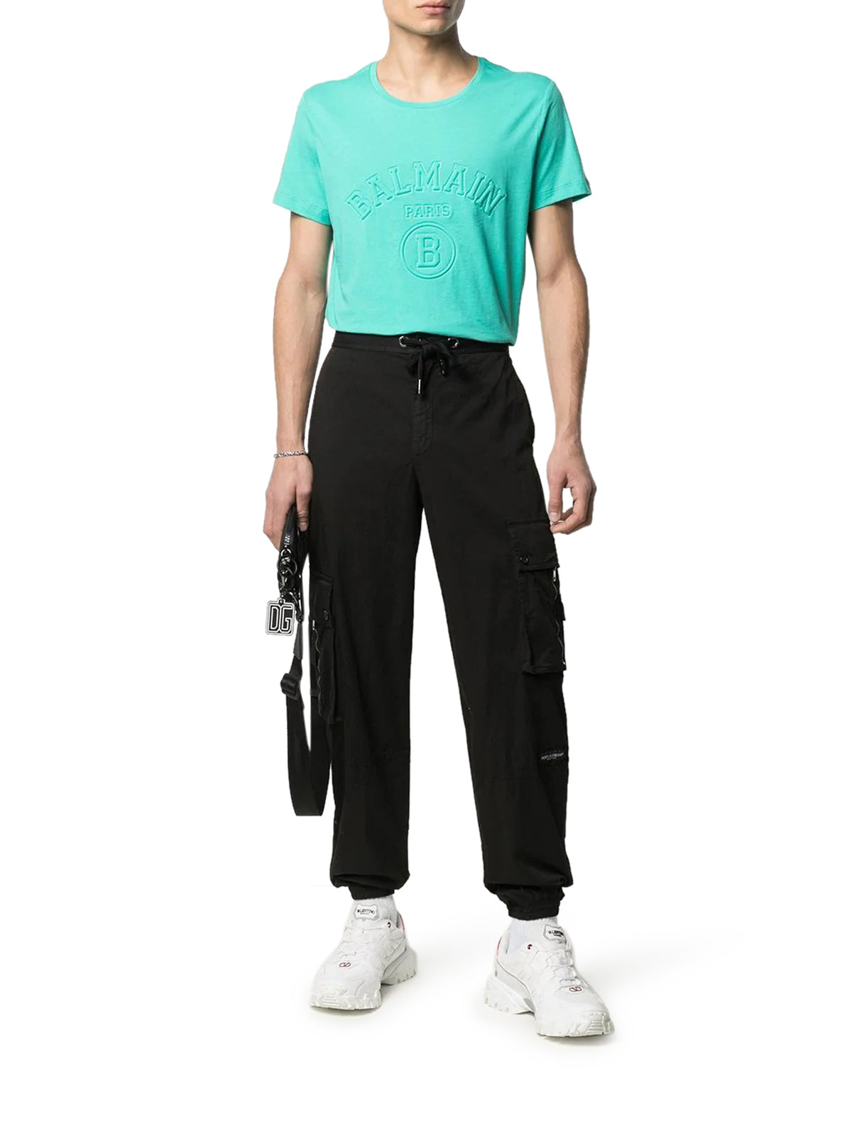 logo patch cotton cargo pants