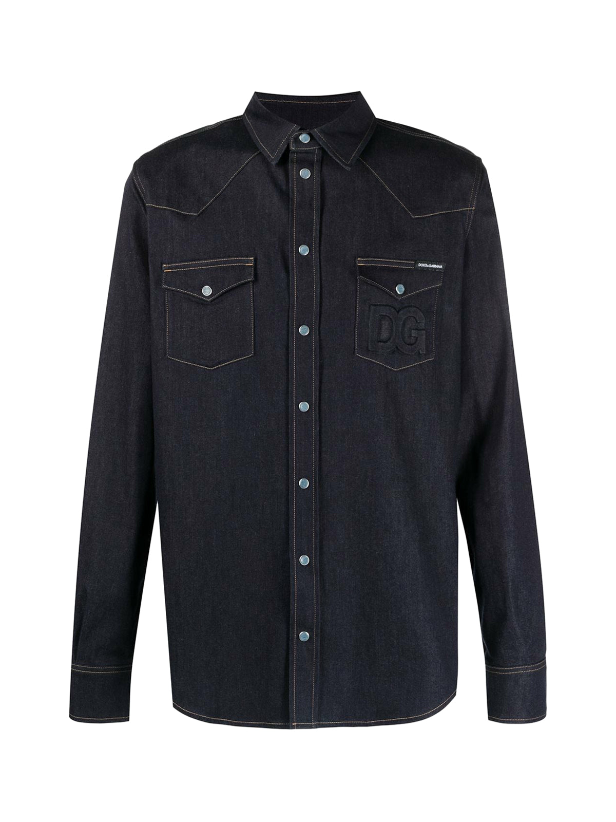 contrast-stitching denim shirt