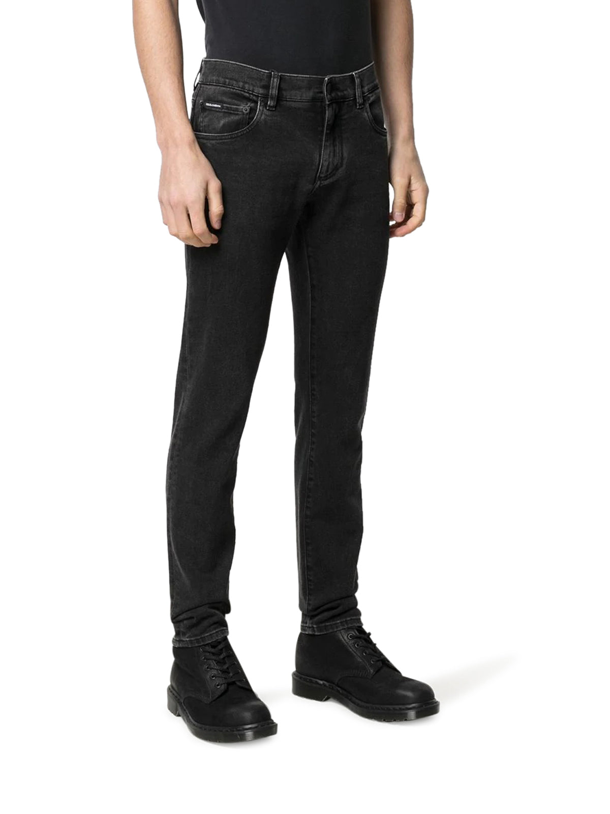 logo embossed slim-fit jeans