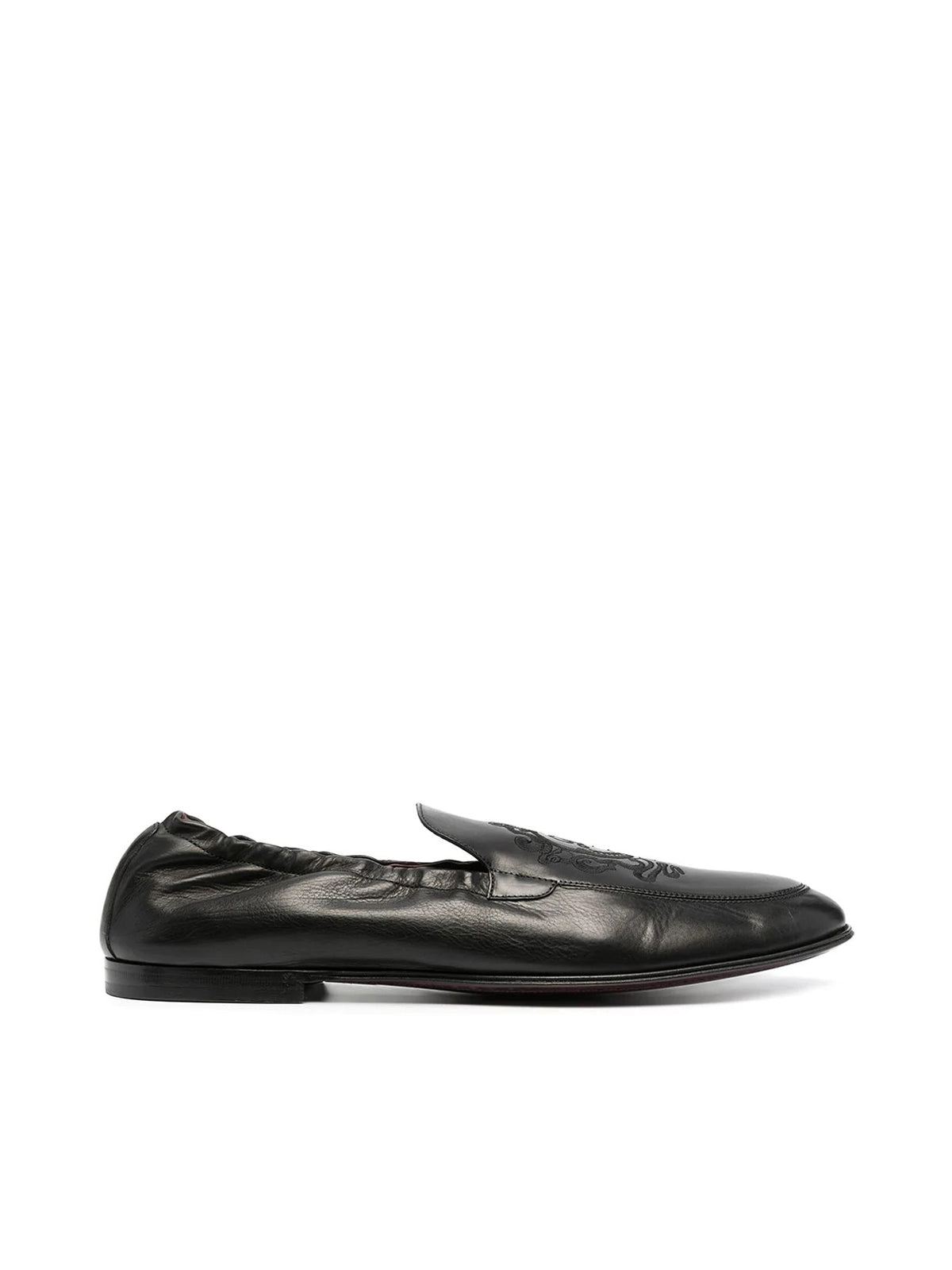 Dolce & Gabbana Loafers LOGO-EMBROIDERED LEATHER LOAFERS