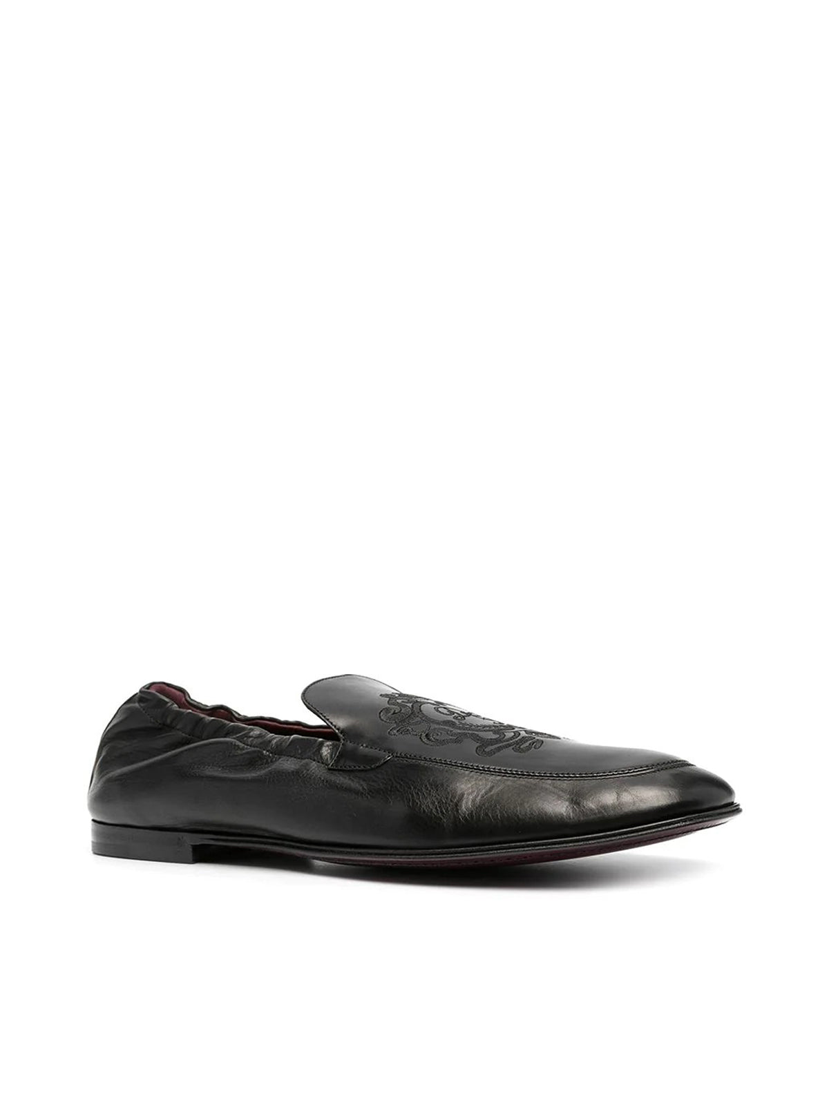 logo-embroidered leather loafers
