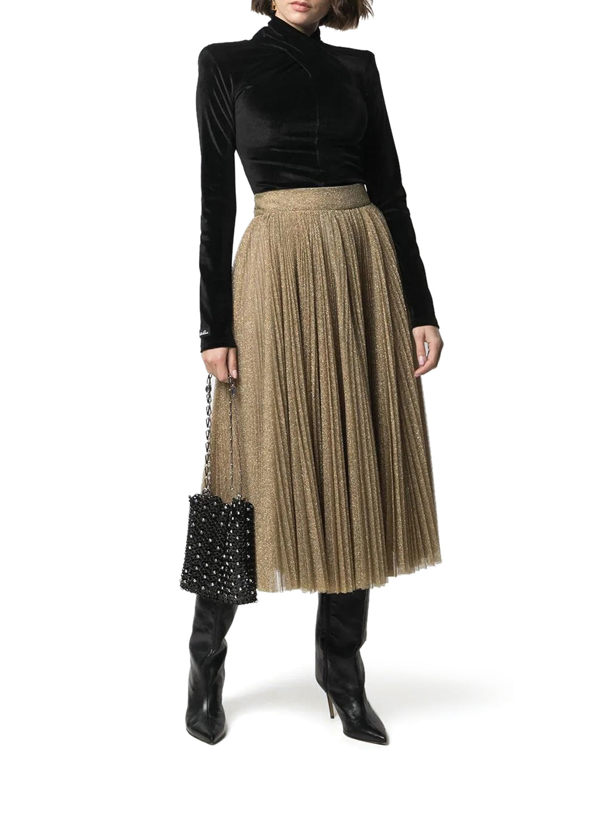 glitter pleated midi skirt
