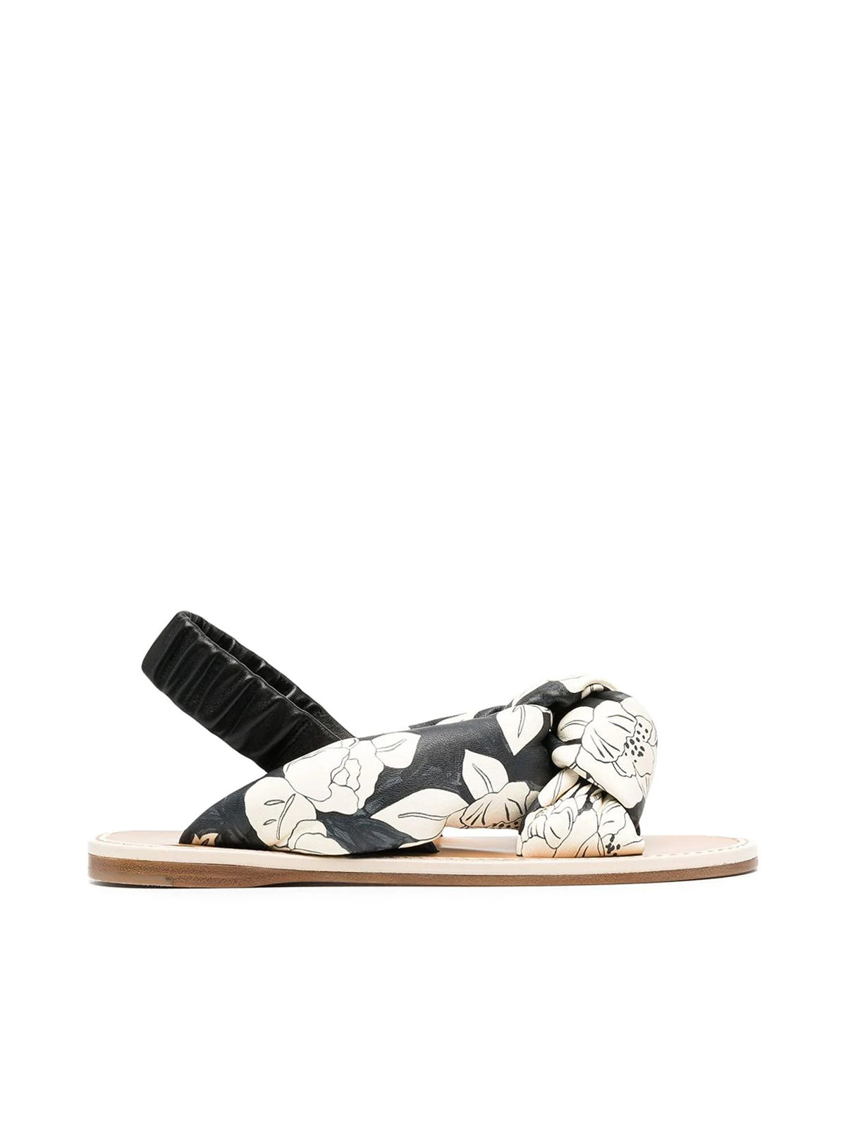 Miu Miu FLORAL PRINT LEATHER SANDALS