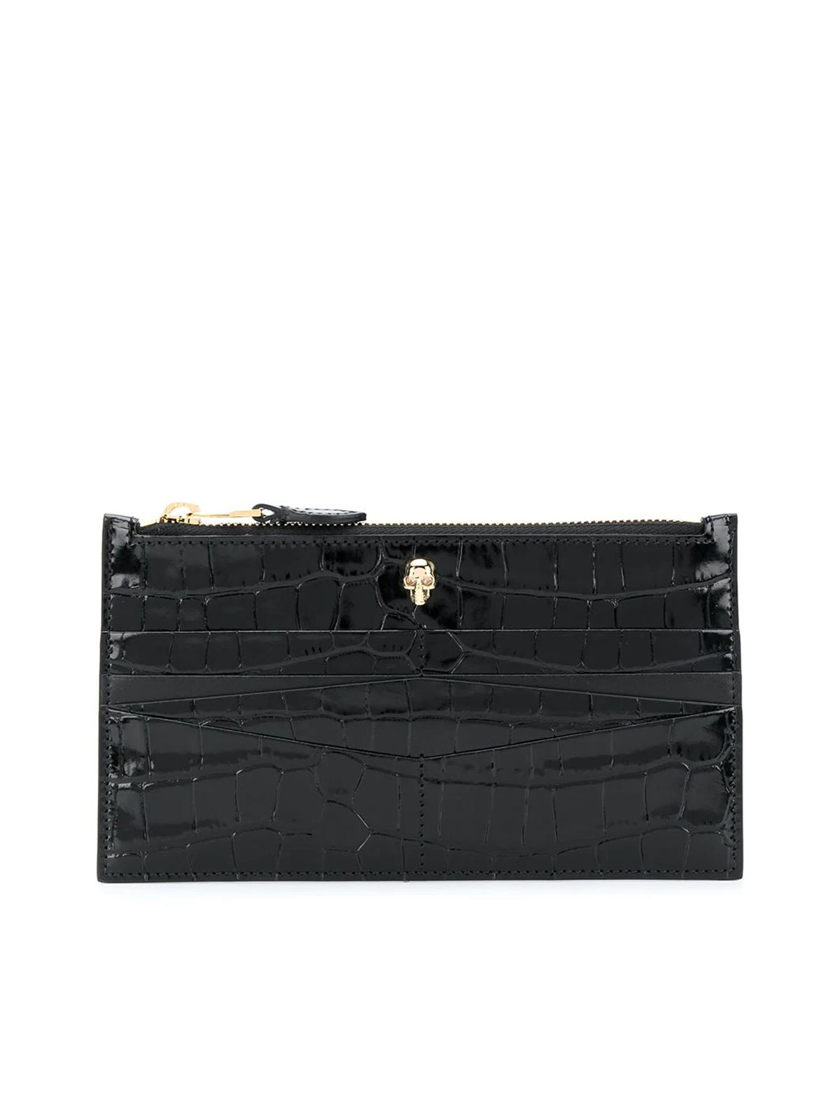 flat zip crocodile-effect wallet