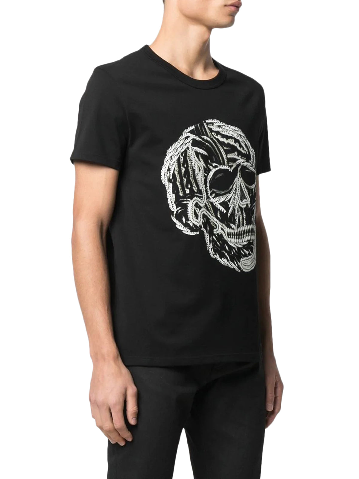 embroidered skull-print T-shirt