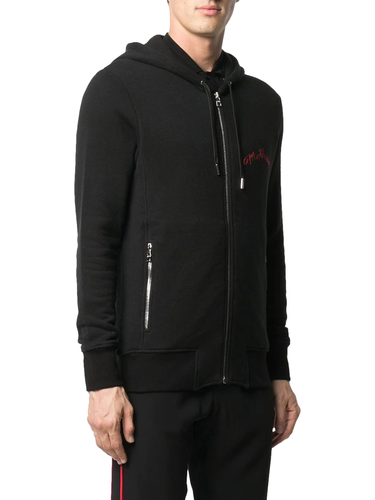 embroidered logo zip-up hoodie