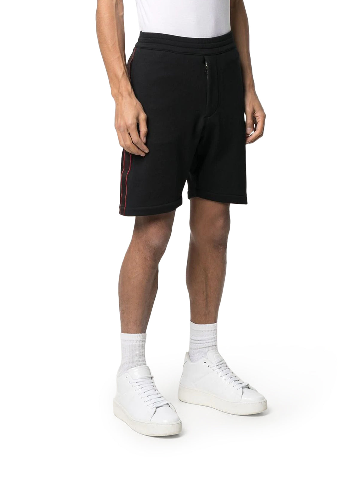 Black selvedge logo tape detail shorts