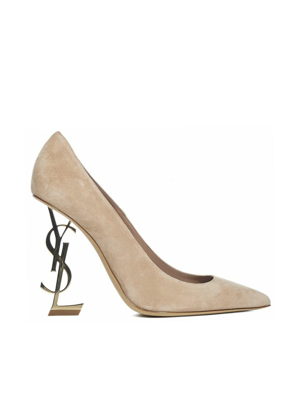OPYUM SUEDE PUMP WITH LIGHT GOLDEN HEEL