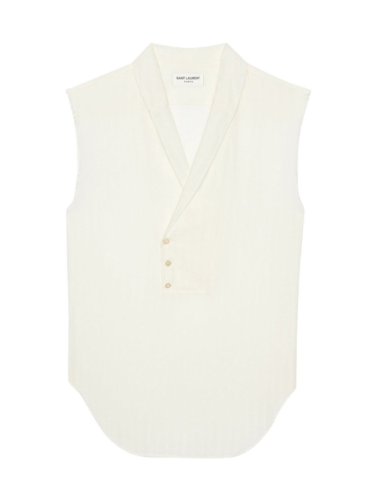 Saint Laurent Cottons SLEEVELESS TUNIC IN EMBROIDERED STRIPE COTTON GAUZE