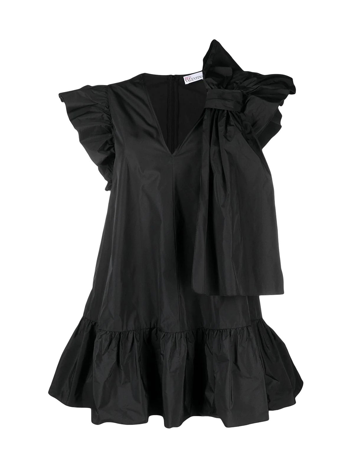 bow and ruffle-detail dress