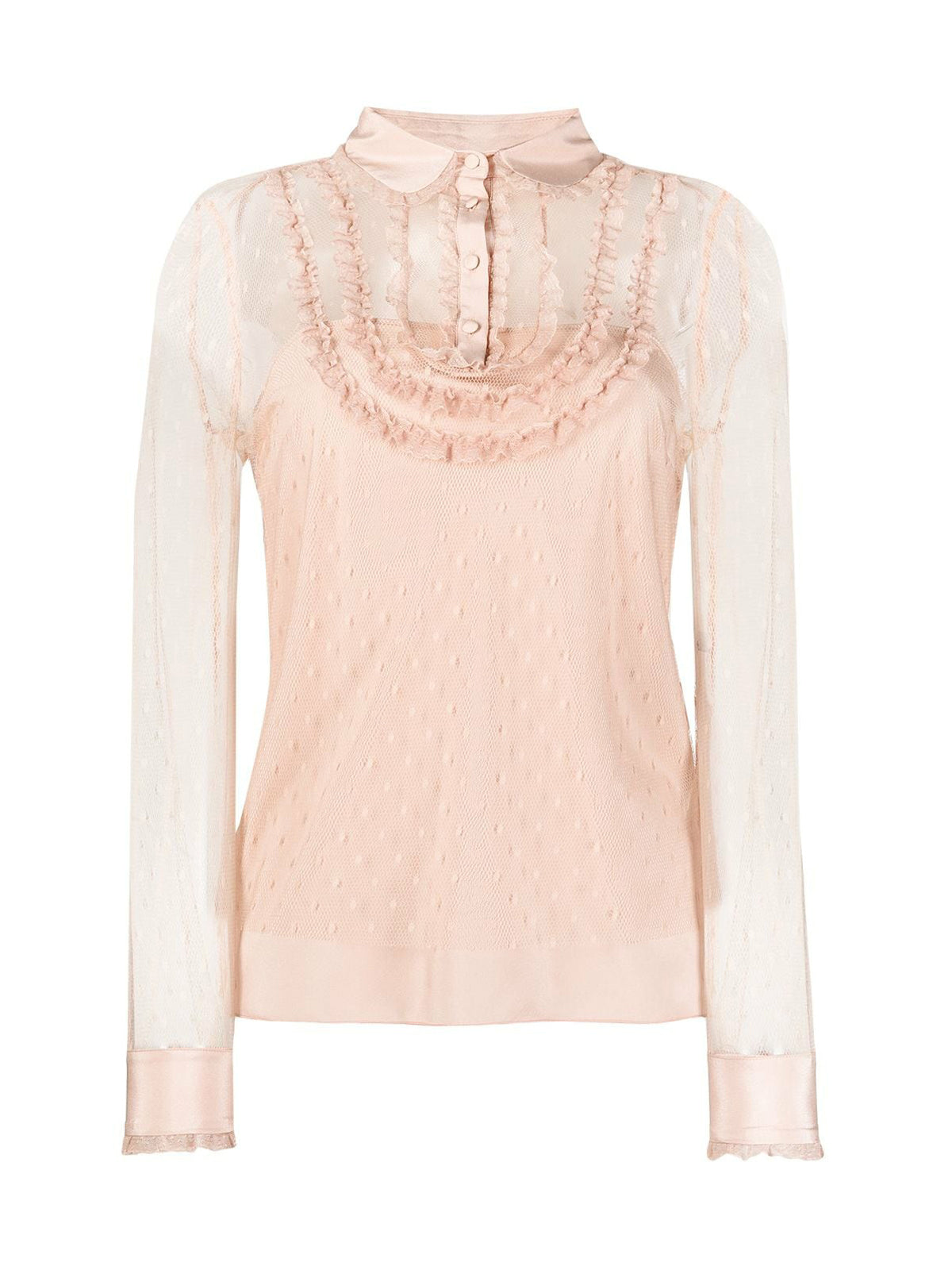 point d`esprit ruffled blouse