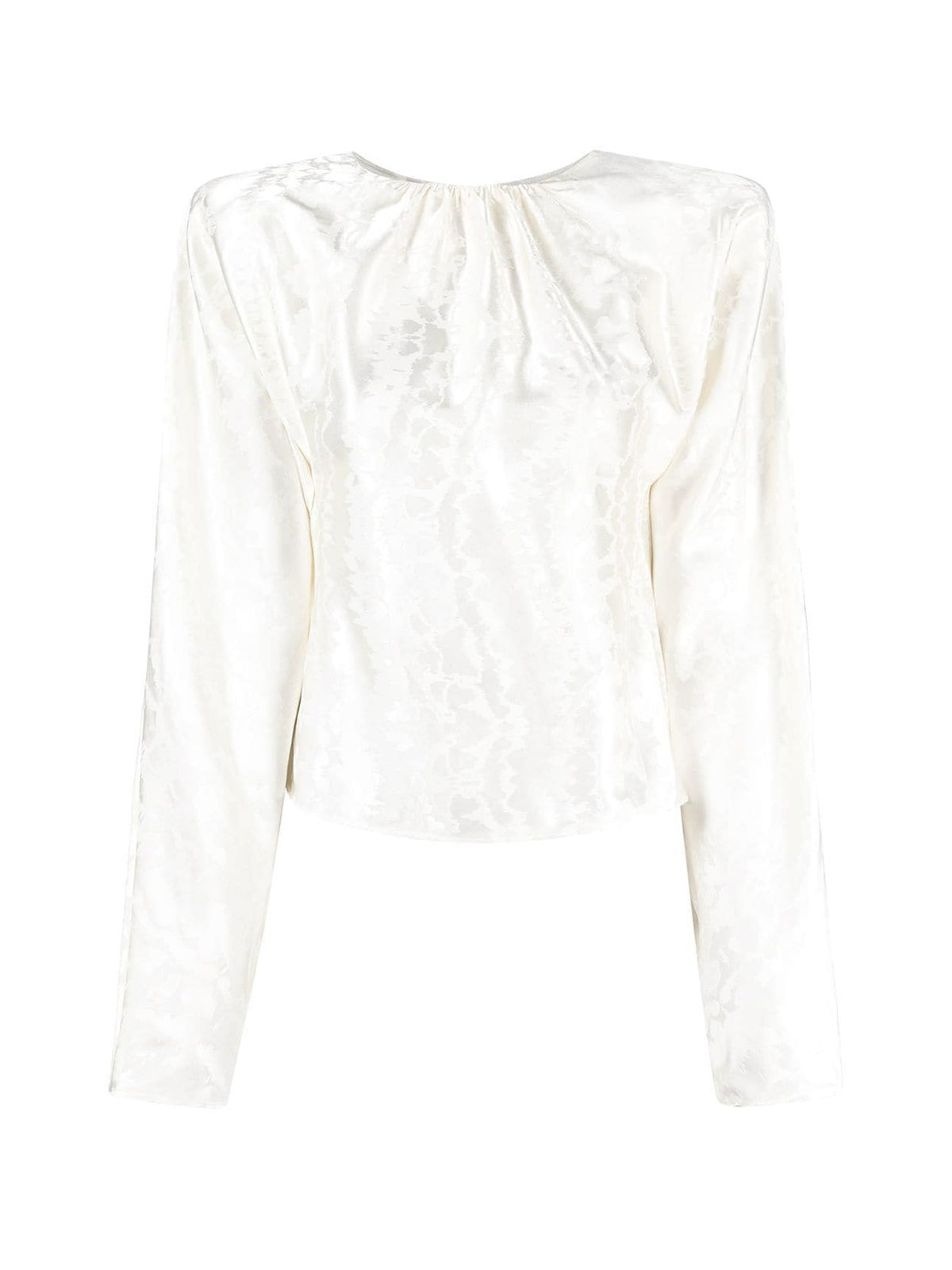 padded-shoulder jacquard blouse