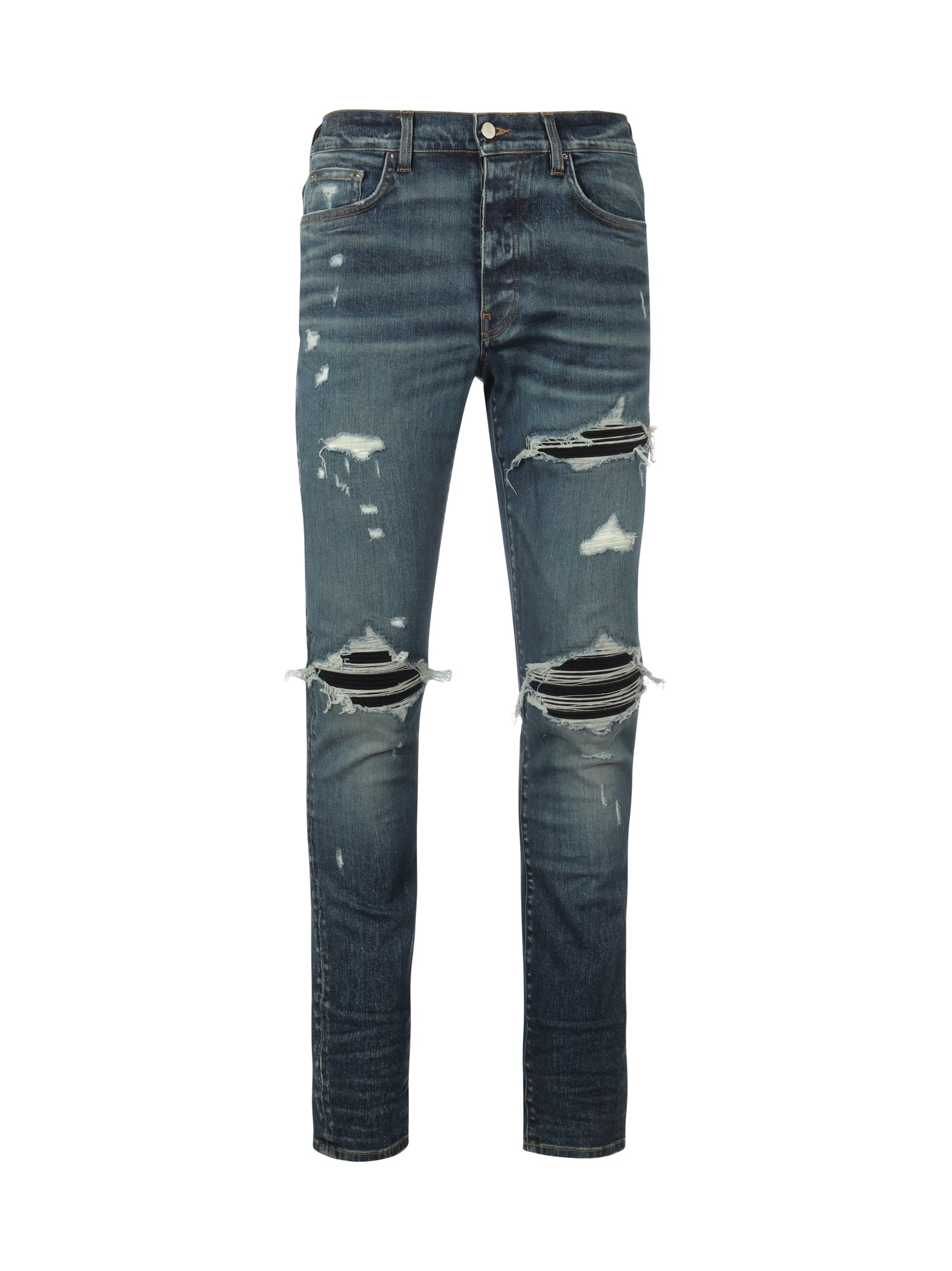 stonewashed distressed-finish jeans