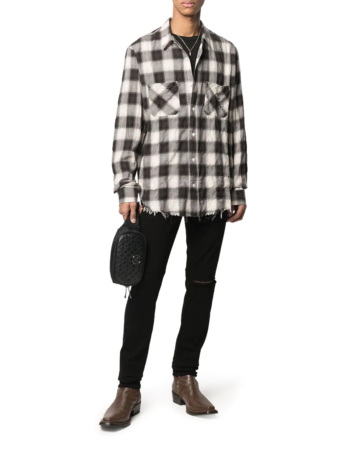 checked-print patch pocket shirt