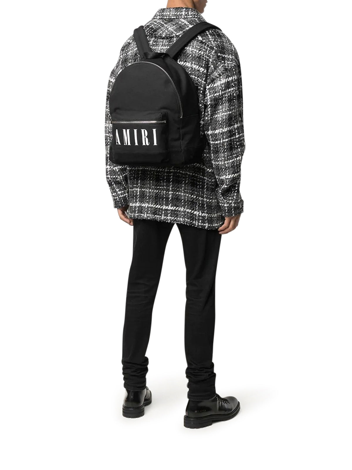 logo-print canvas backpack