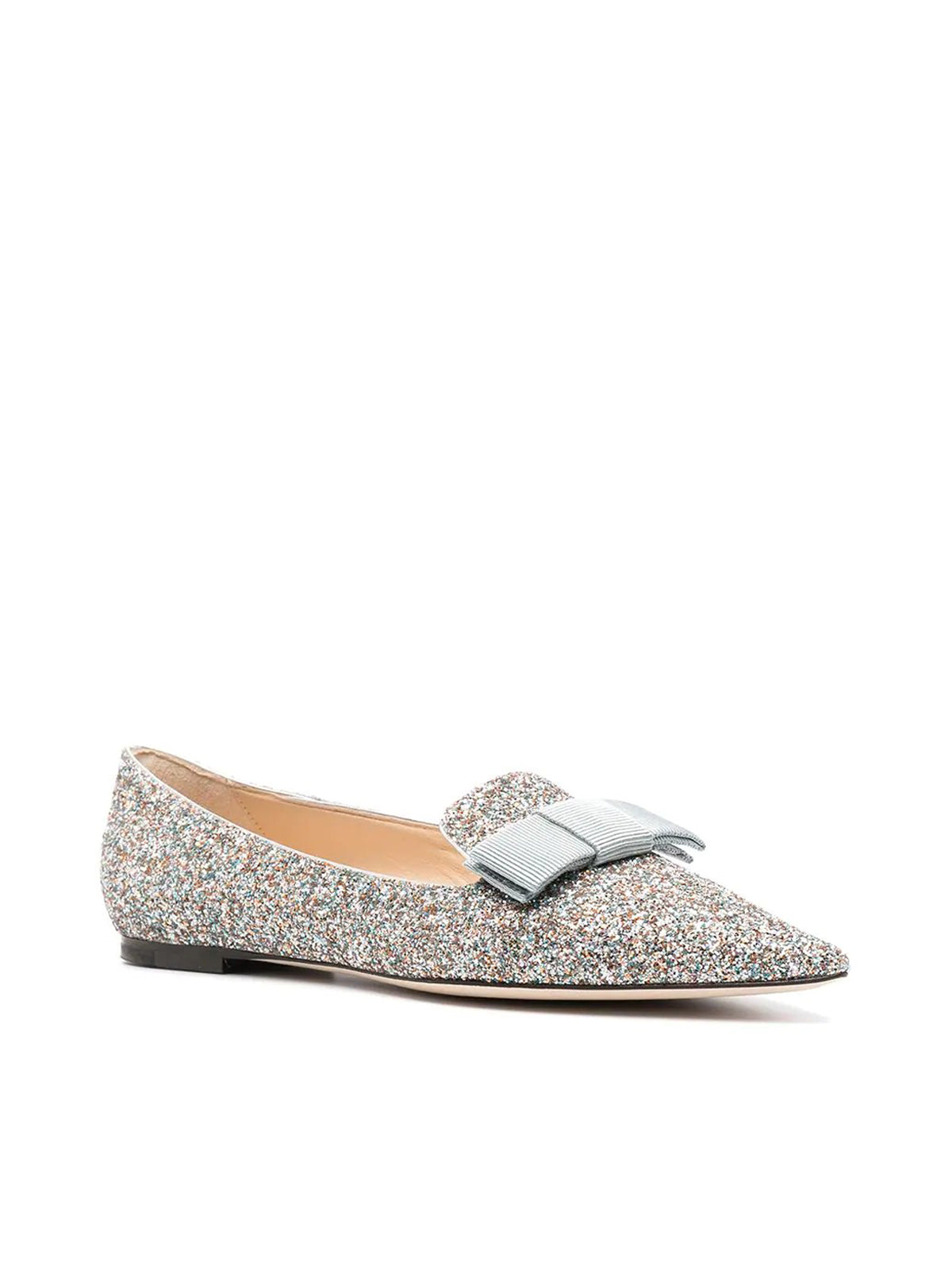bow-detail glitter-effect ballerina shoes