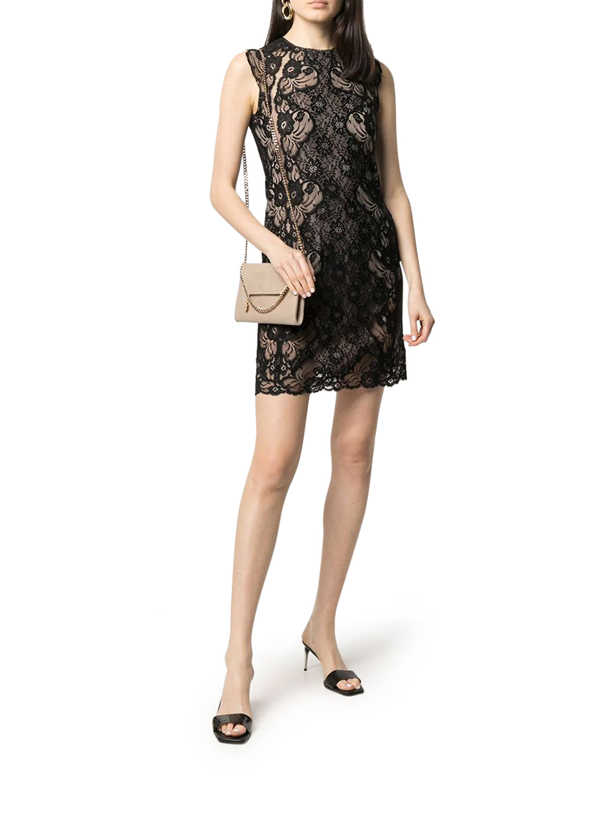 fitted lace mini-dress