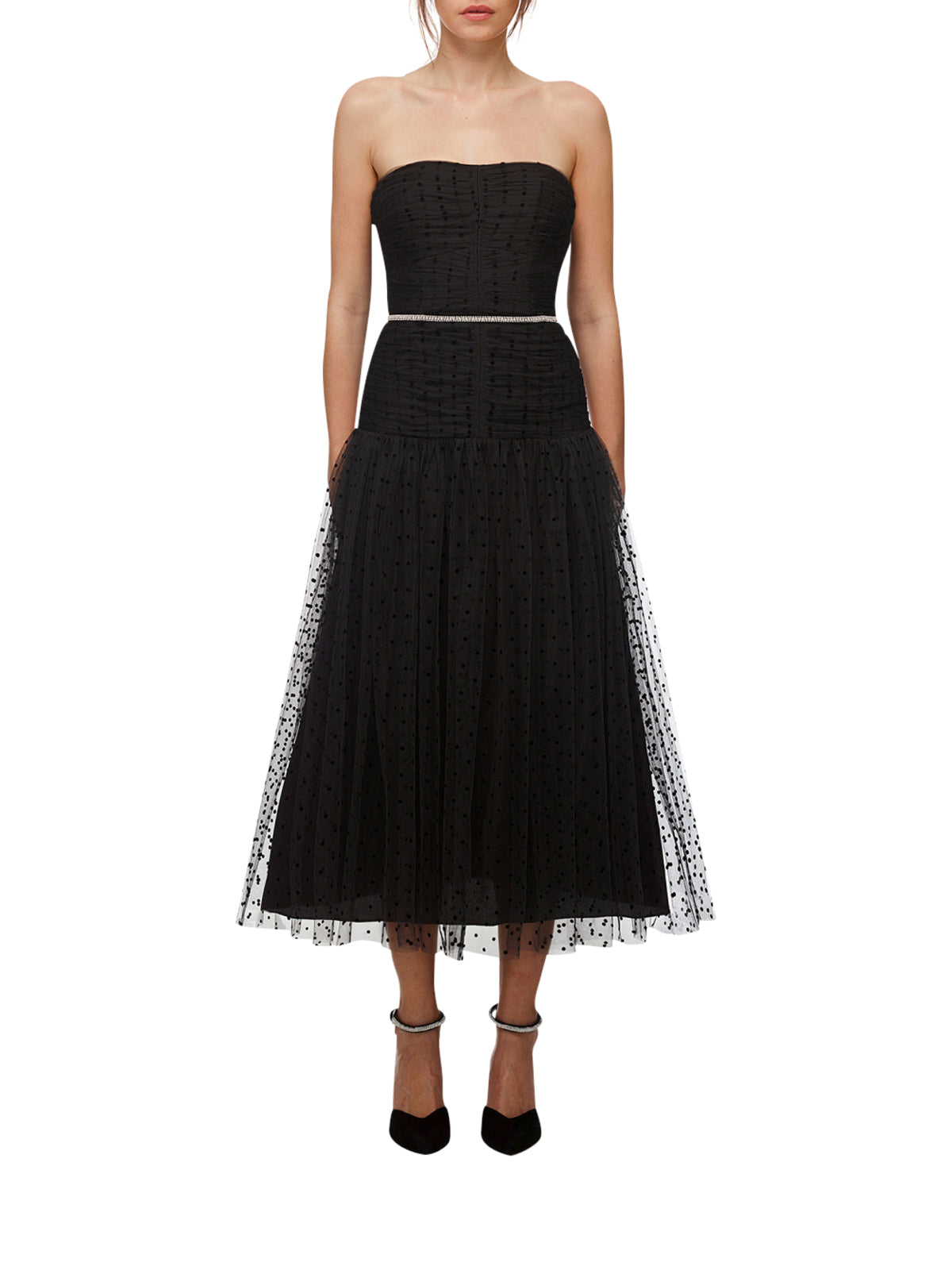 polka dot tulle midi dress