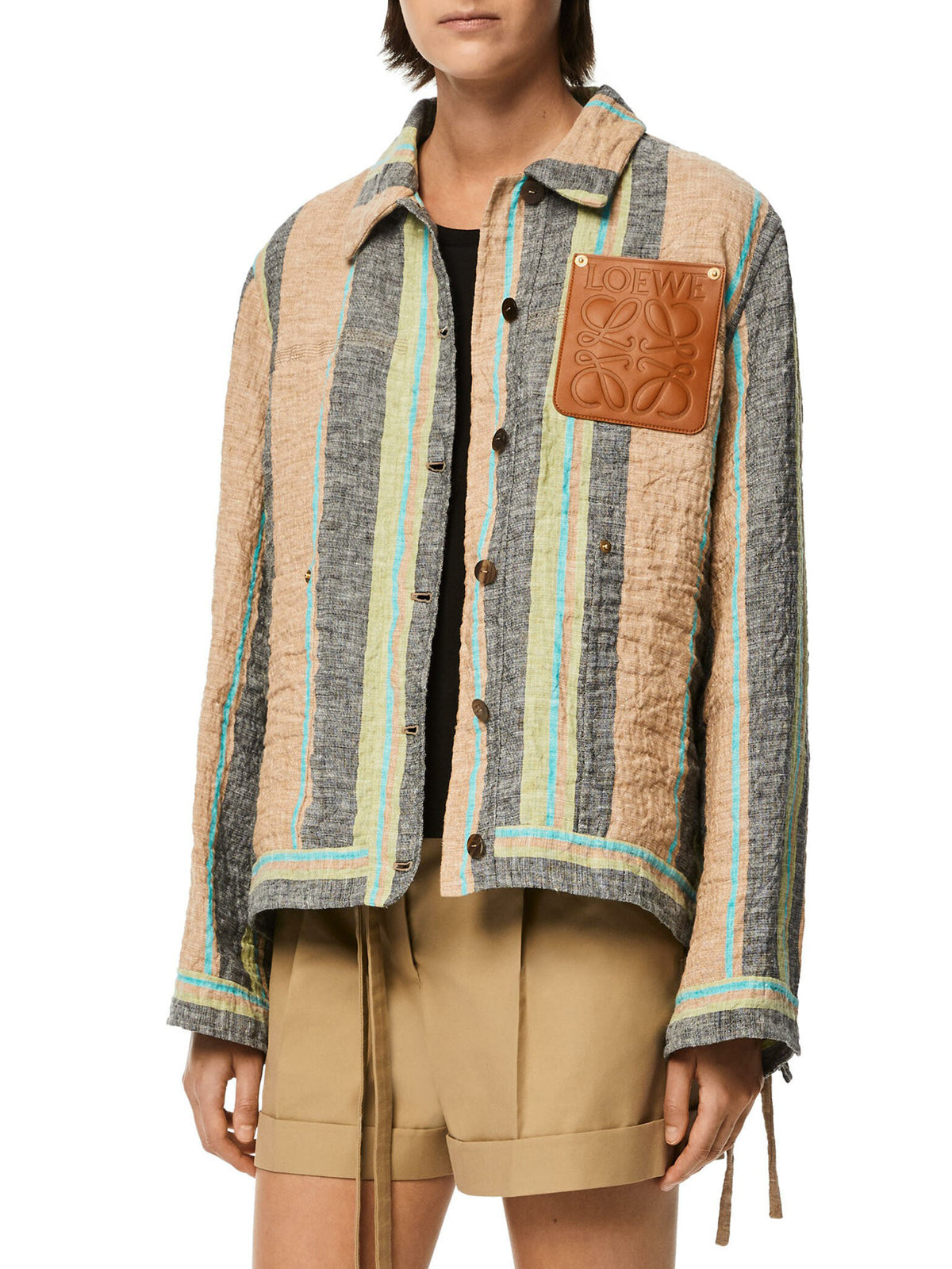 Stripe workwear jacket in linen