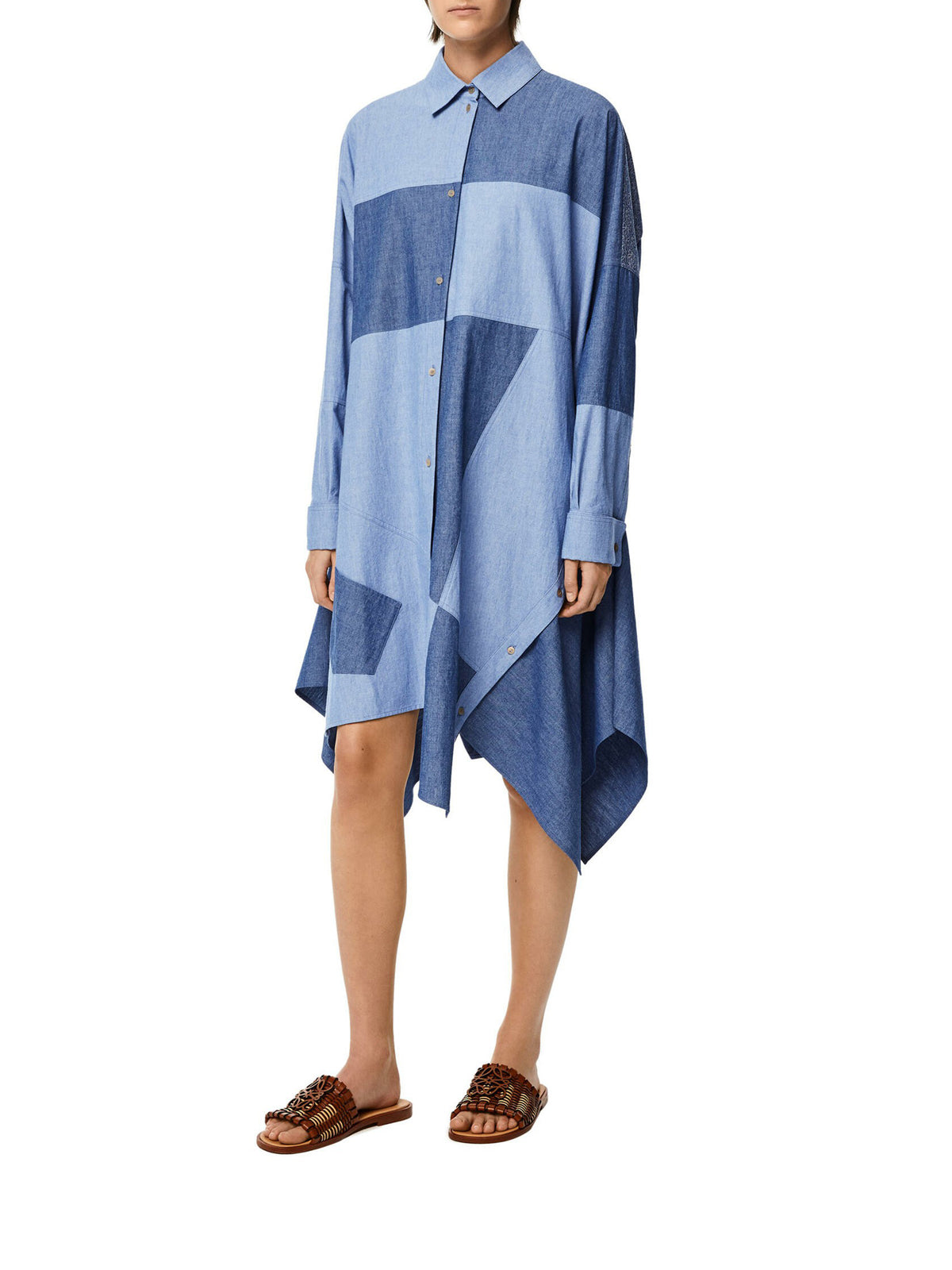 Oversize patchwork dress in cotton