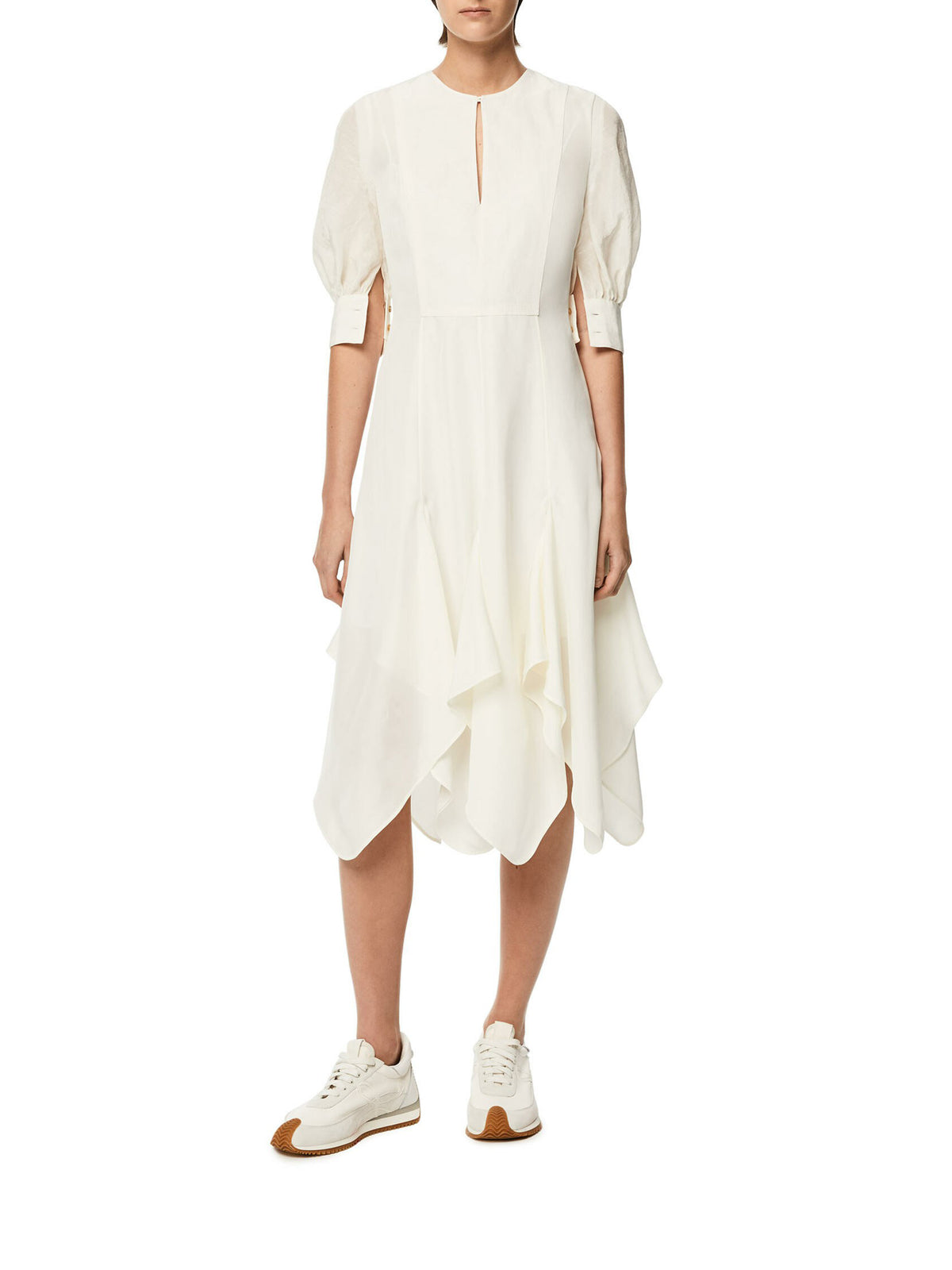 Petal hem dress in linen