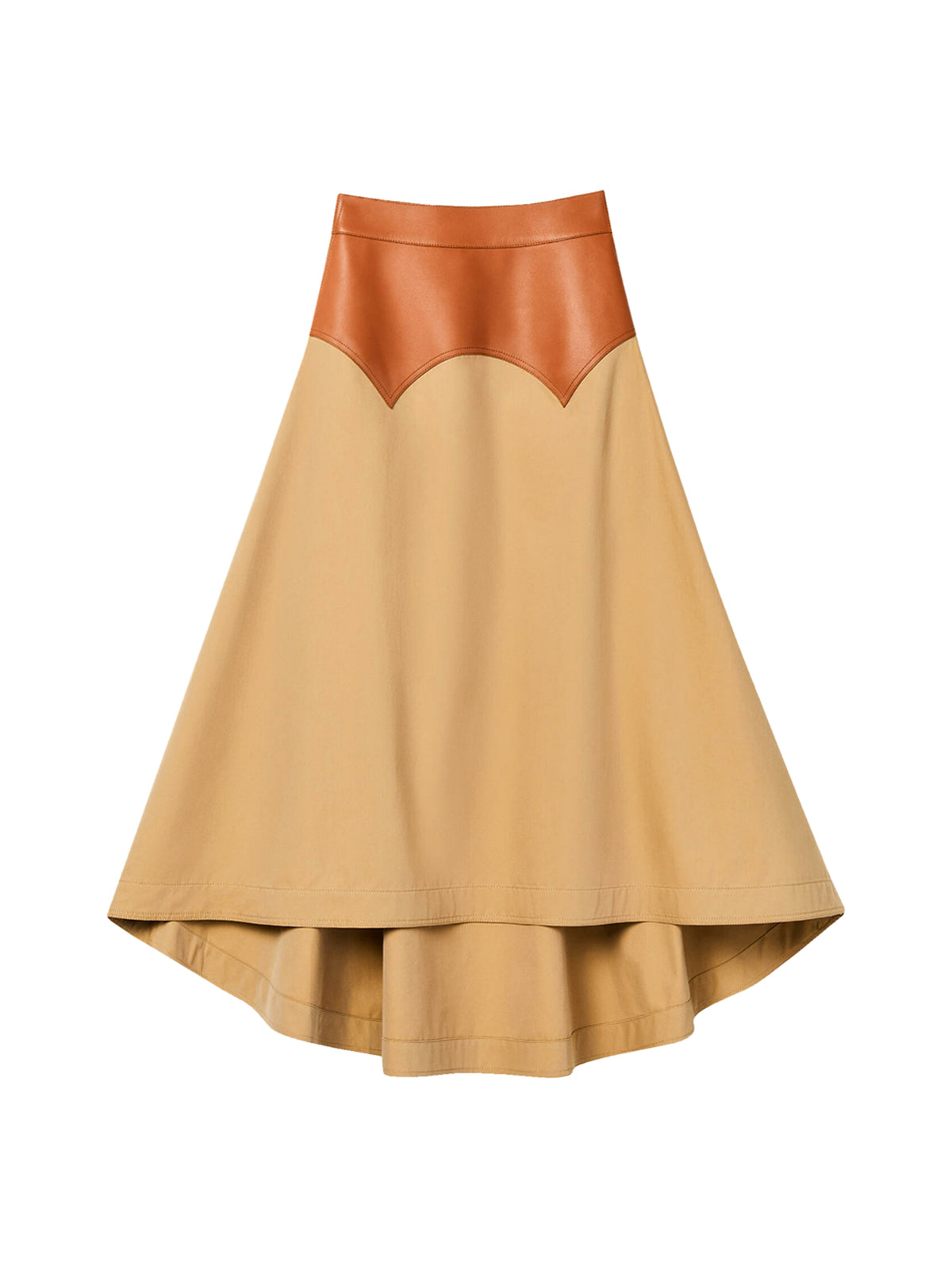 Long obi skirt in calfskin and textile