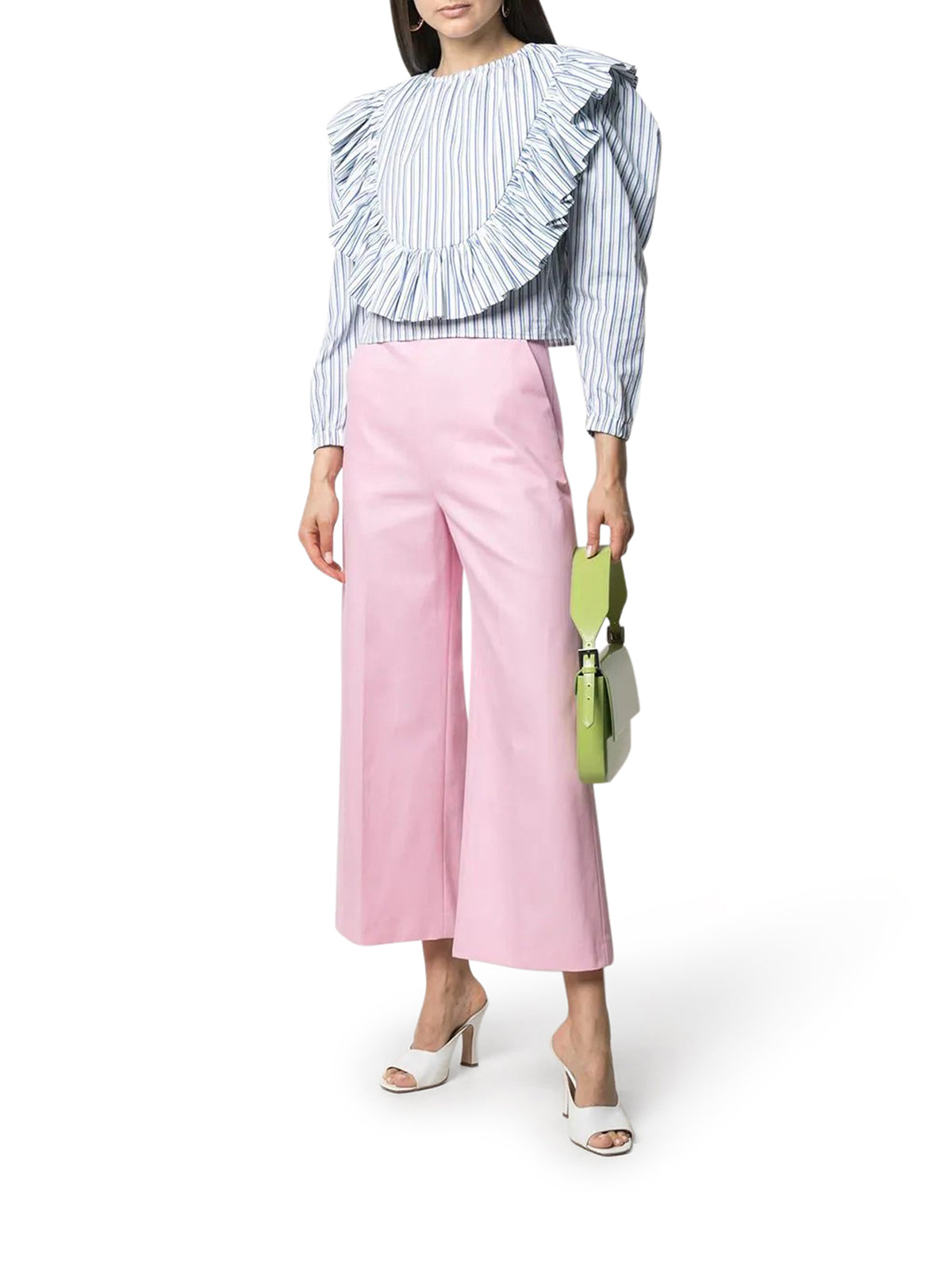 Msgm Cottons HIGH-WAIST CROPPED TROUSERS